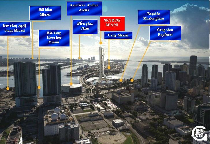 Các địa điểm quan trọng và nổi bật đều nằm rất gần Skyrise Miami