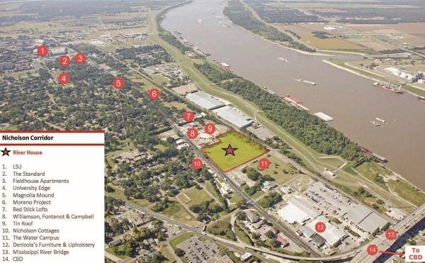 Mô tả địa điểm chi tiết của dự án nhà ven sông tại Baton Rouge